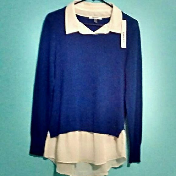 Dkny Pull Over Sweater W Faux Shirt Womens Layered Sweater With