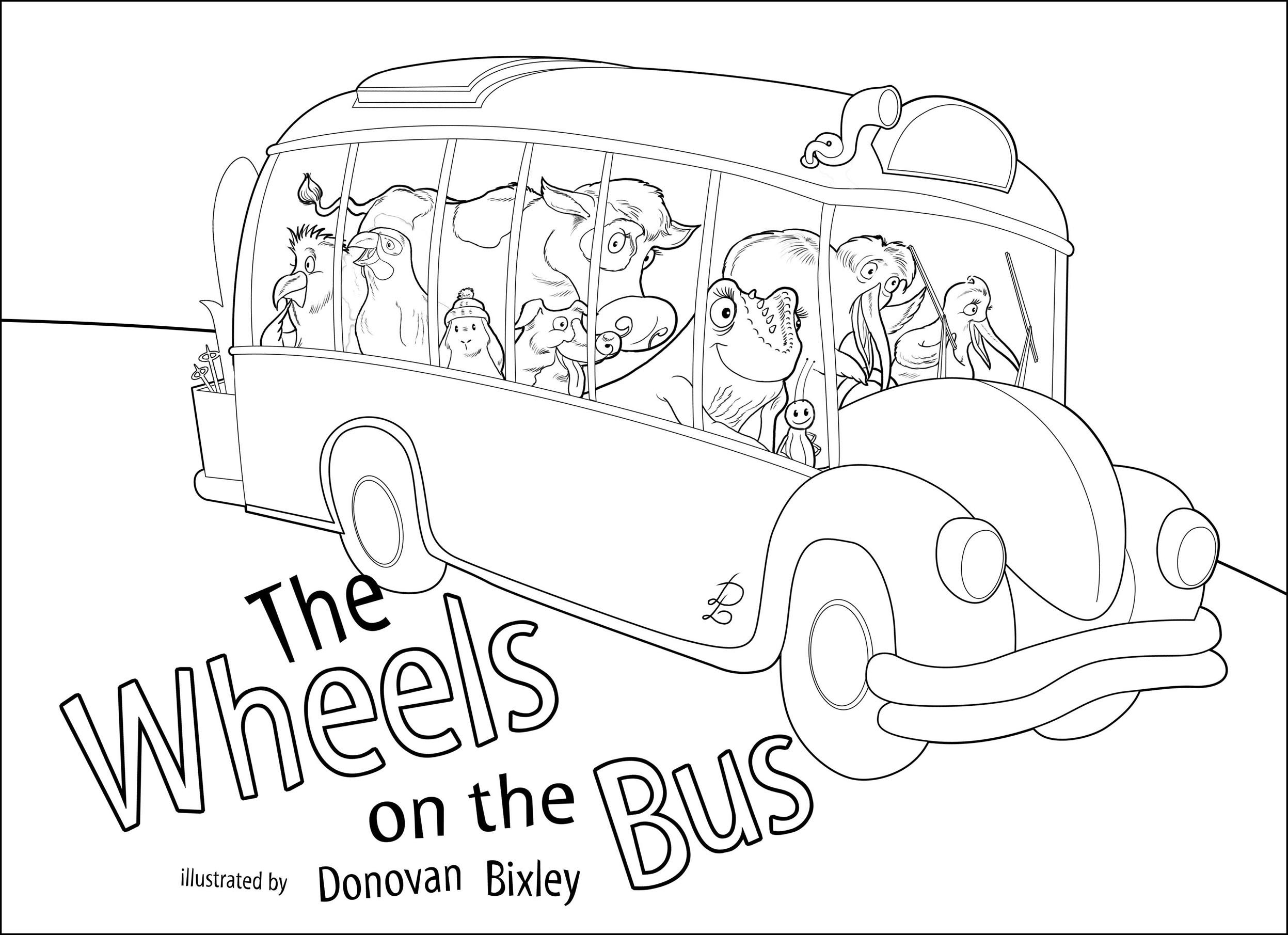 Wheels On The Bus Coloring Pages Childrens Books