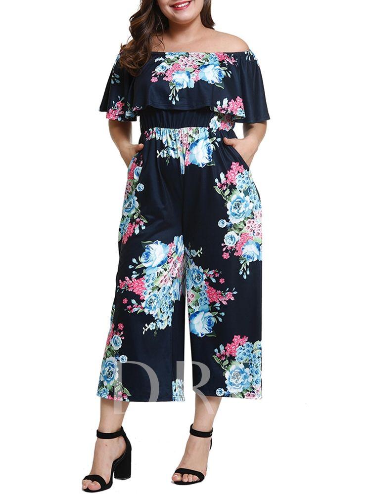 6ead1d7f666d7 Plus Size Floral Print Off Shoulder Women s Jumpsuit
