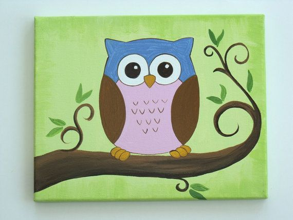 Cute Little Owl Sitting In Tree Handpainted On By Leilasartcorner 20 00 Owl Canvas Painting Owl Painting Cute Canvas Paintings