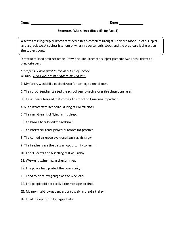 Underlining Simple Sentence Worksheet | Worksheets | Pinterest ...
