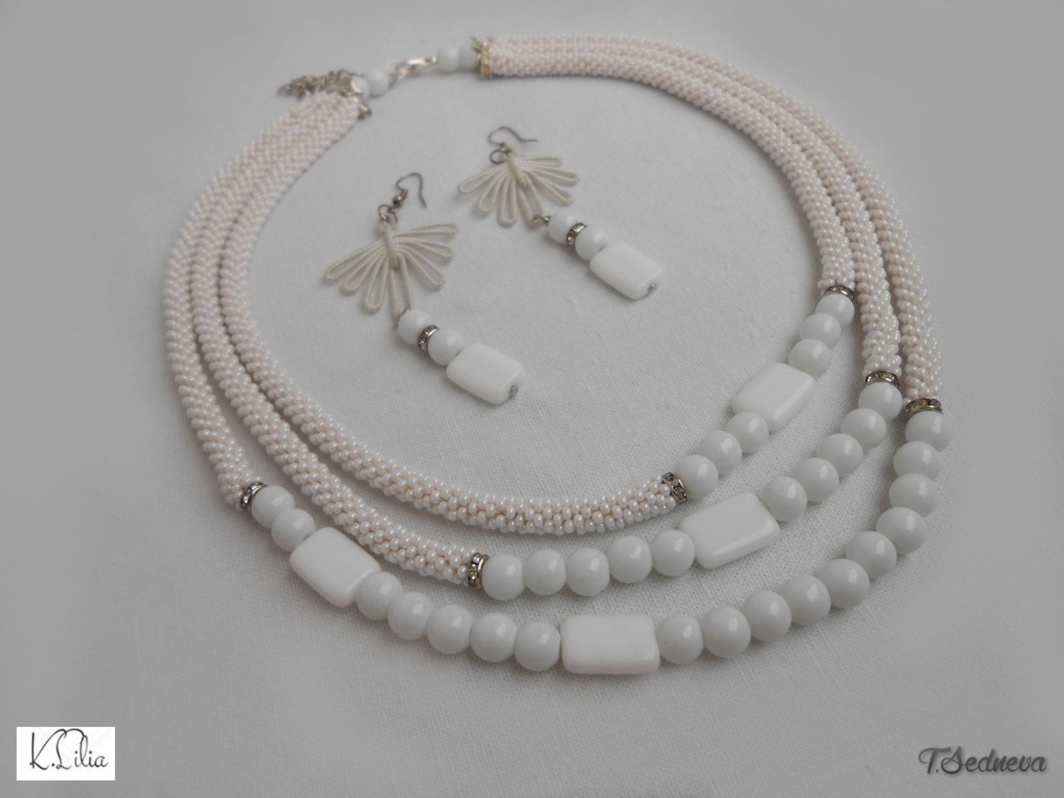 Set of pearl necklace and earrings Perfect Christmas gift for the beloved woman Handmade Holiday package Hurry up to buy in a single copy by SKstyleArt on Etsy