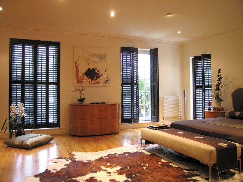 Shutters French Doors Dark wood white trim | Wooden Interior ...