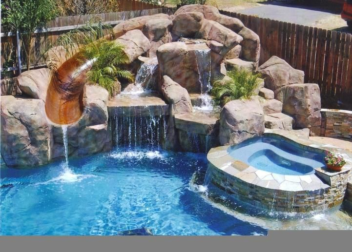 Pool Designs With Waterfalls And Slides artificial rock waterfall & slide | backyard bling | pinterest