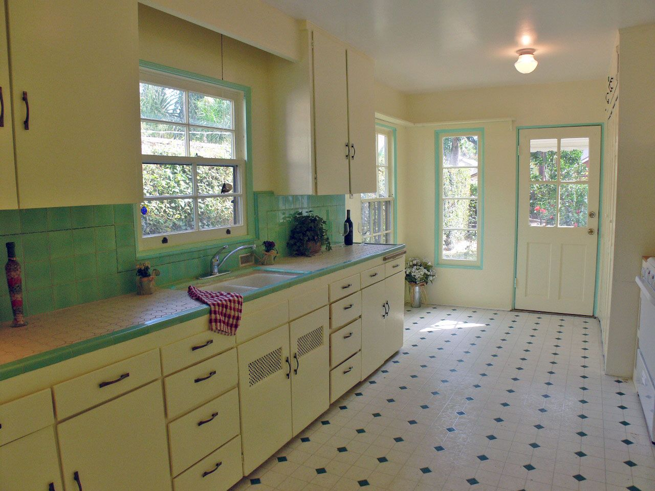 Retro Kitchen Flooring darling kitchen with original honeycomb tile countertops | kitschy