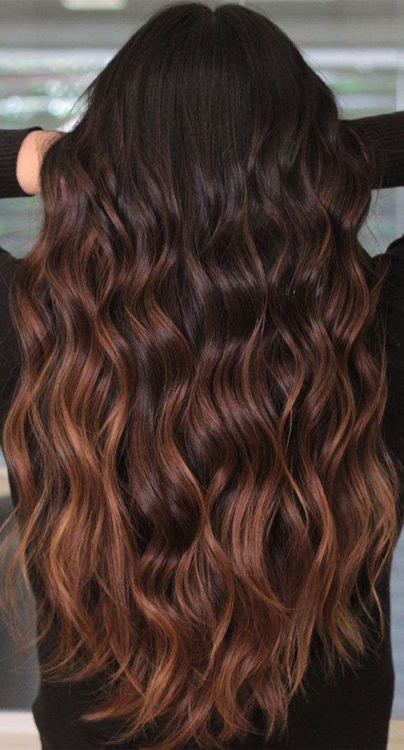 15 Chocolate brown hair color with caramel highlights : Chocolate balayage