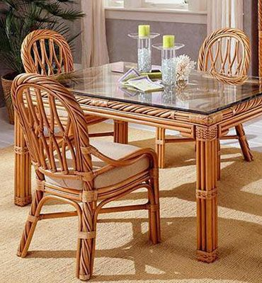 South Sea Rattan Carlyle Wicker 42'' Round Glass Dining Table Amazing Cane Dining Room Furniture Inspiration