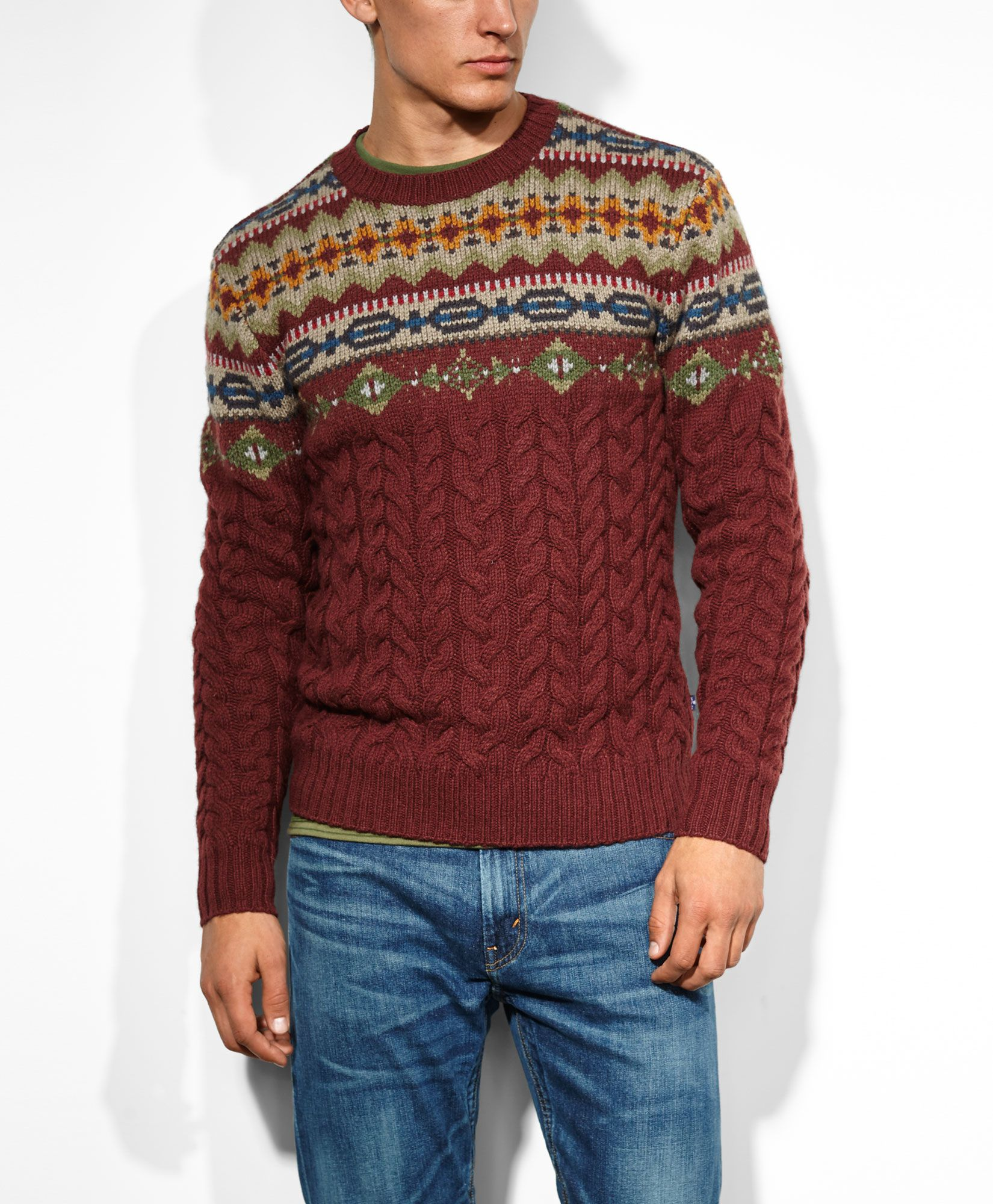 Levi's Fair Isle Textured Sweater - Rum Raisin - Sweatshirts ...