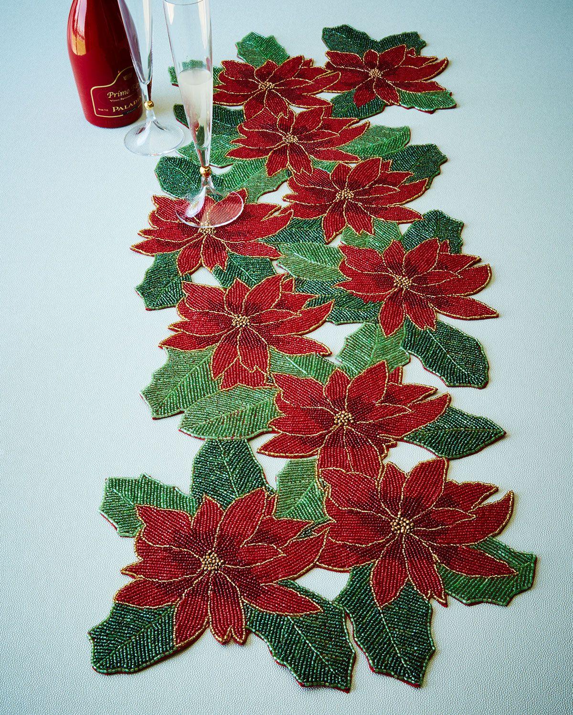 Divine Designs Poinsettia Beaded Table Runner Holiday Table Runner Poinsettia Table Runner Christmas Table Runner
