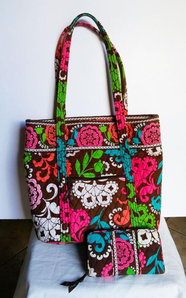 Vera Bradley Lola Brown Tote Bag With Wallet Retired Purse Per Pink Green Verabradley Totespers