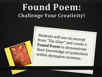 the giver found poem activity ccss aligned dystopia symbolism poem activities and school. Black Bedroom Furniture Sets. Home Design Ideas