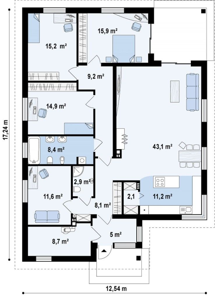Plano y fachada de chalet moderno de 3 dormitorios 2 for Fachadas de chalets de una planta