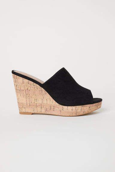 Wedge-heel Mules - Black - Ladies   H\u0026M