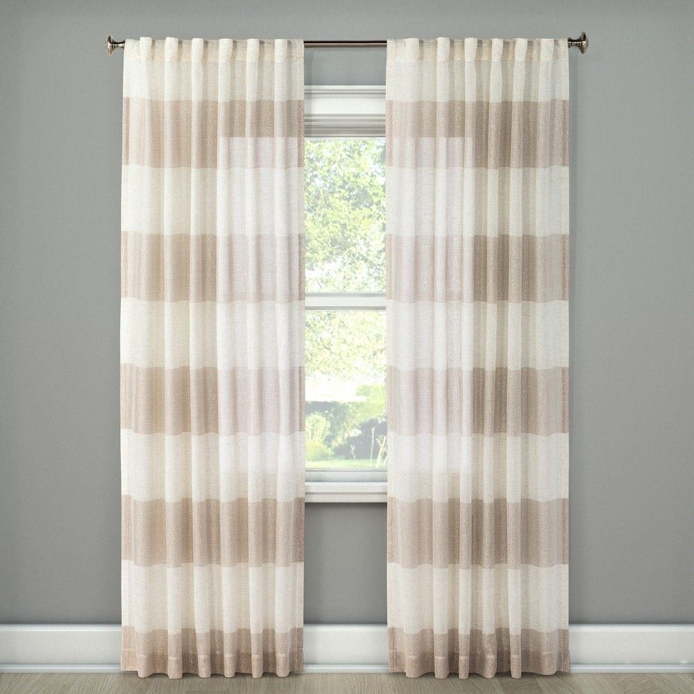 Metallic Rugy Stripe Sheer Curtain Panel Rose Gold 54 X84