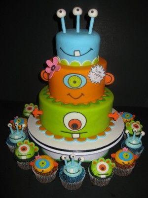 Monsters Birthday Cake & Cupcakes