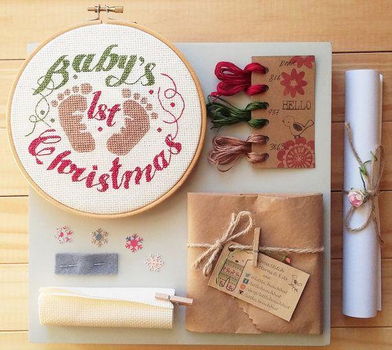 Babys First Christmas Cross Stitch Kit By Littlebeachhut On Etsy