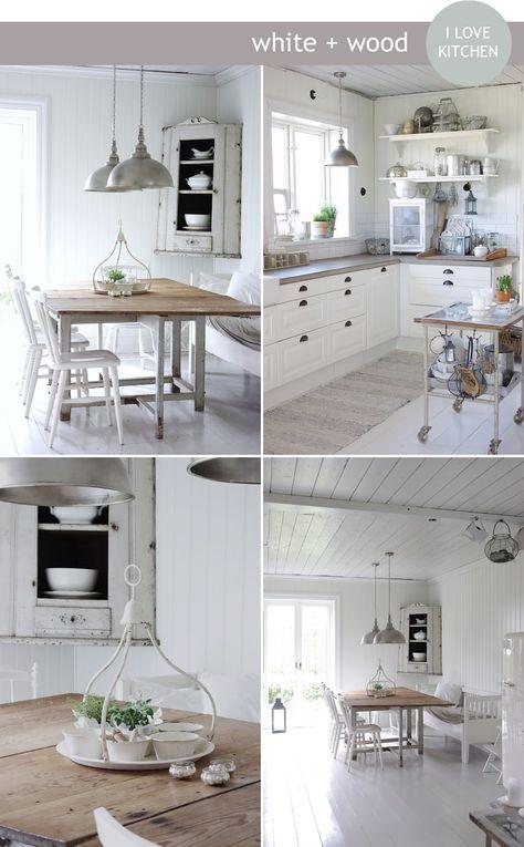 Küche weiß und Holz, nordisch, rustikal, chic Küche Pinterest - küche weiß mit holz