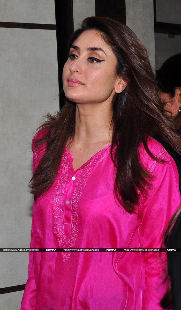 Kareena Kapoor in a fuschia pink kurta. Love her makeup and hair ...