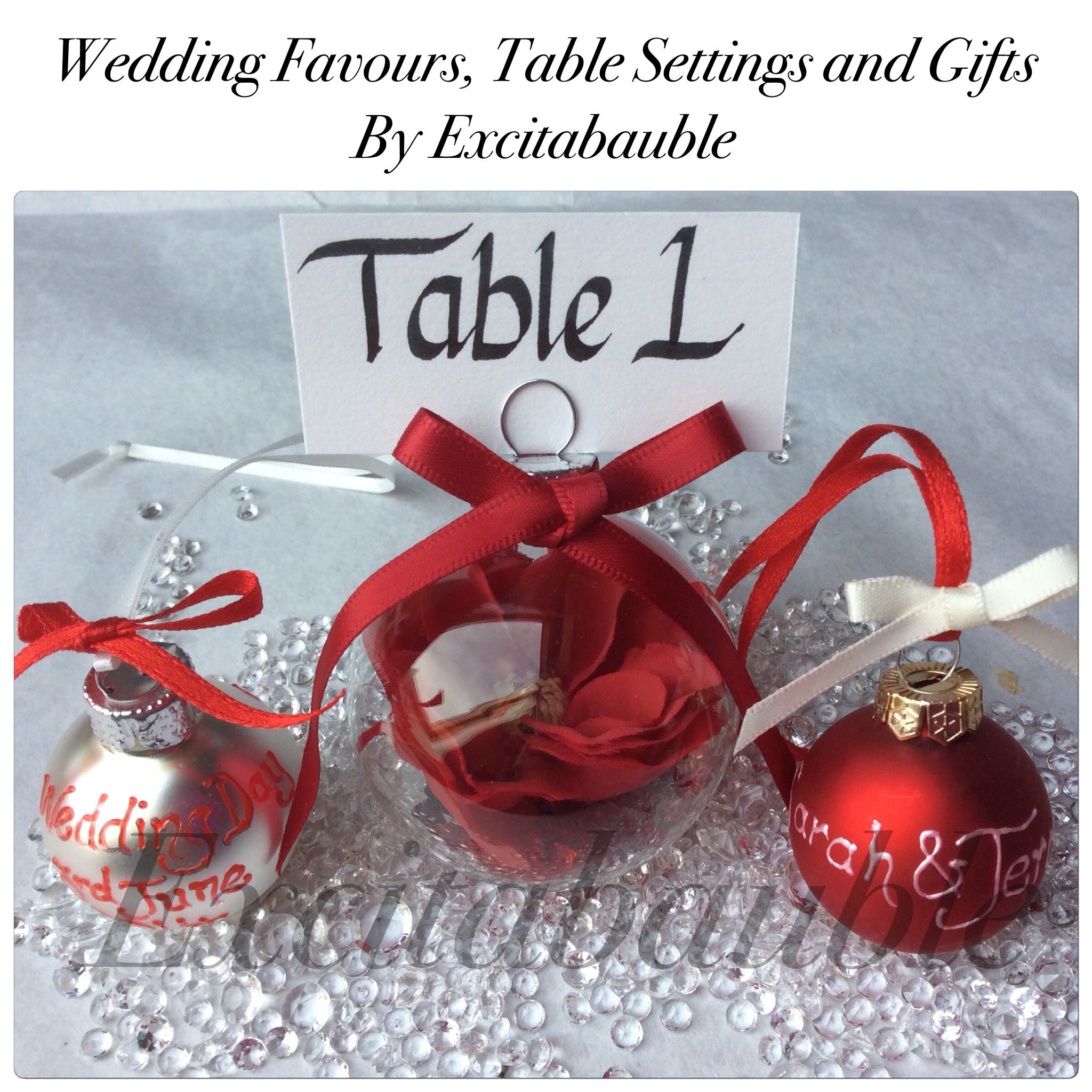 Red Personalised glass Wedding Favours, Table Settings and Gifts www.excitabauble.co.uk