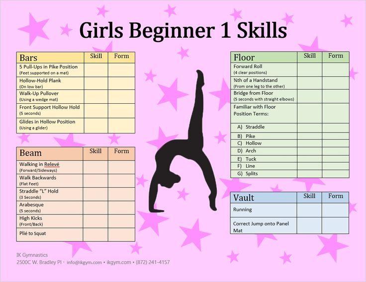 List of beginner skills PK level Gymnastics Pinterest Gymnastics - skills list