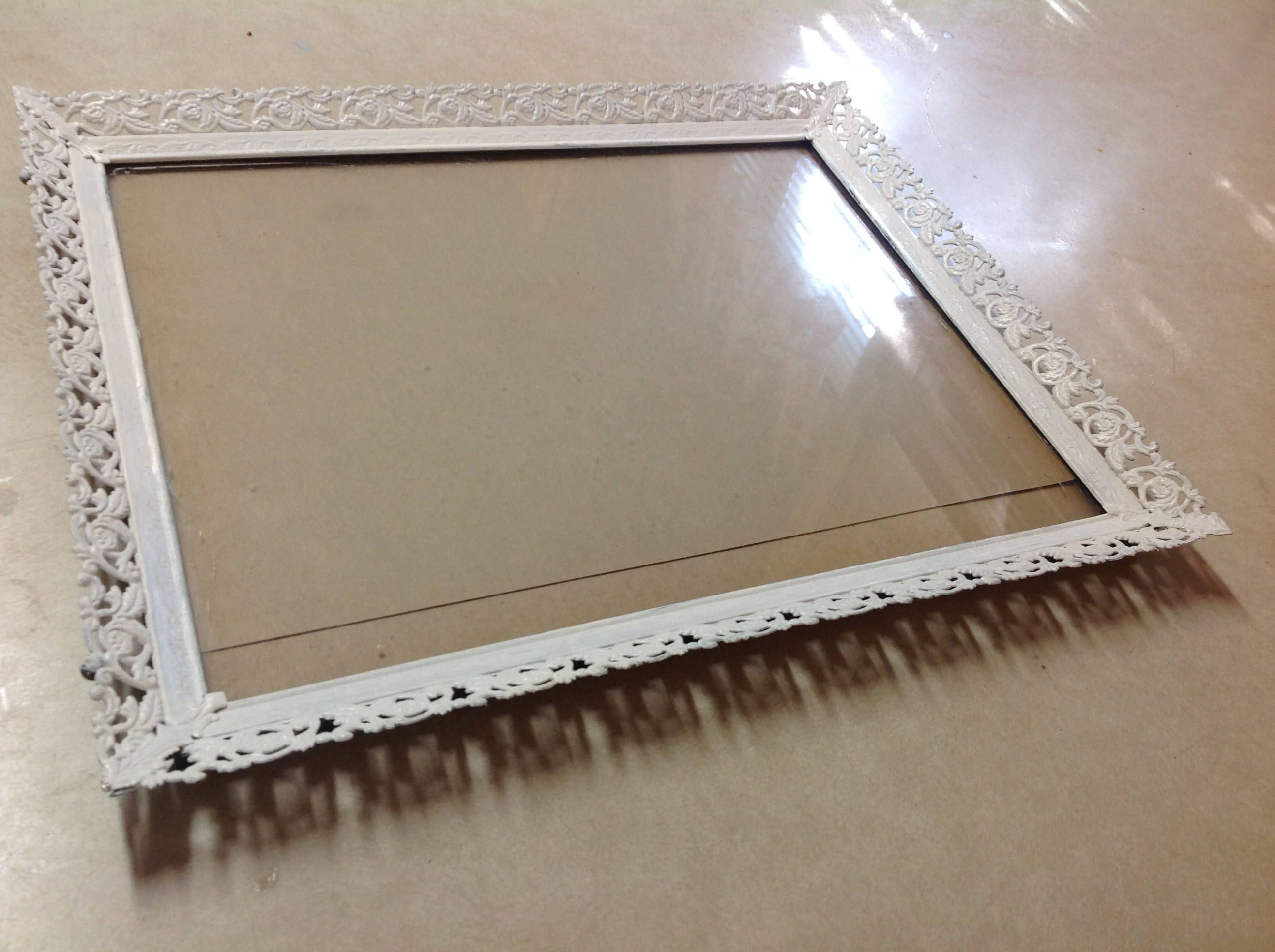 Vintage shabby frame painted white large metal picture frame 14 1/4 ...