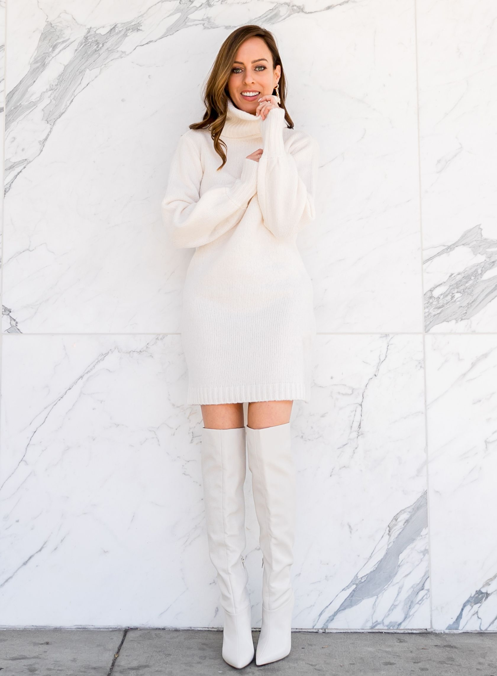 Easy Winter White Outfits Lucky 9 Giveaway Sydne Style White Boots Outfit Winter White Outfit Fashion [ 2284 x 1680 Pixel ]