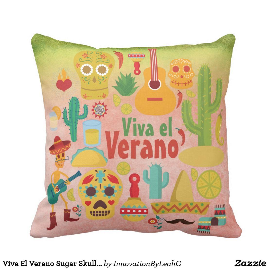 Sentimental Wedding Gift Ideas: Viva El Verano Sugar Skull Mexican Summer Pillow