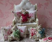 Dollhouse Miniature Teddy Bear shaped Pillow Only You choose bow color
