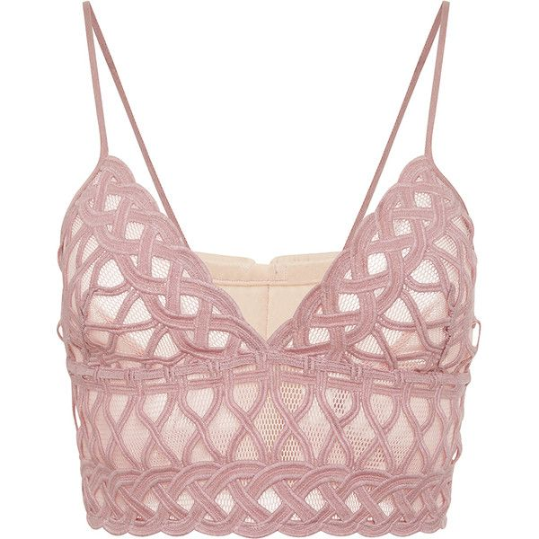 Jonathan Simkhai Tread Lace Bralette (€350) ❤ liked on Polyvore featuring tops, crop top, bra, underwear, crochet lace top, sweetheart neckline top, sweetheart top, white top and bralet crop top