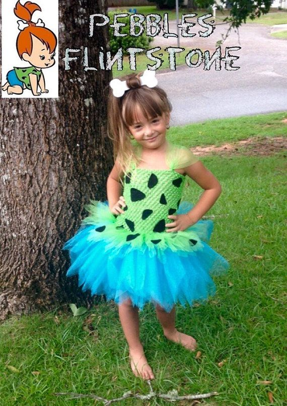 Pebble Tutu Dress, Pebbles Costume with Bone hair clip    *Inspired by Flintstones #pebblescostume