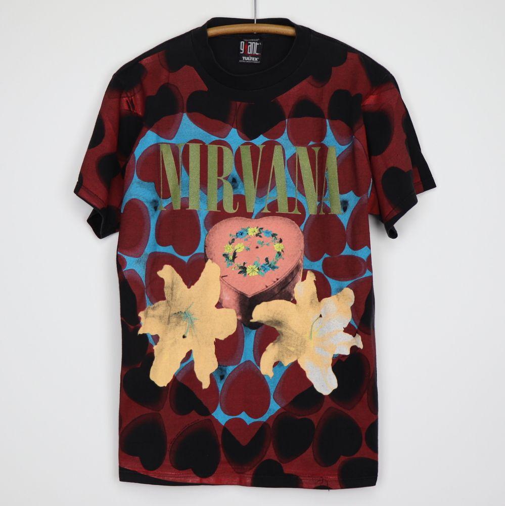 Vintage Nirvana Heart Shaped Box All Over Print Shirt 1993 Nirvana Heart Shaped Box Heart Shape Box Vintage Nirvana T Shirt