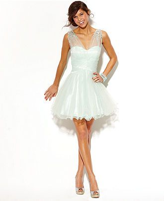 B Darlin Juniors Dress, Sleeveless Rhinestone Illusion - Juniors ...