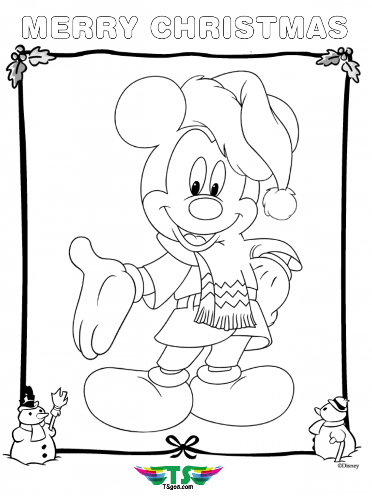 mickey mouse merry christmas coloring page | Christmas ...