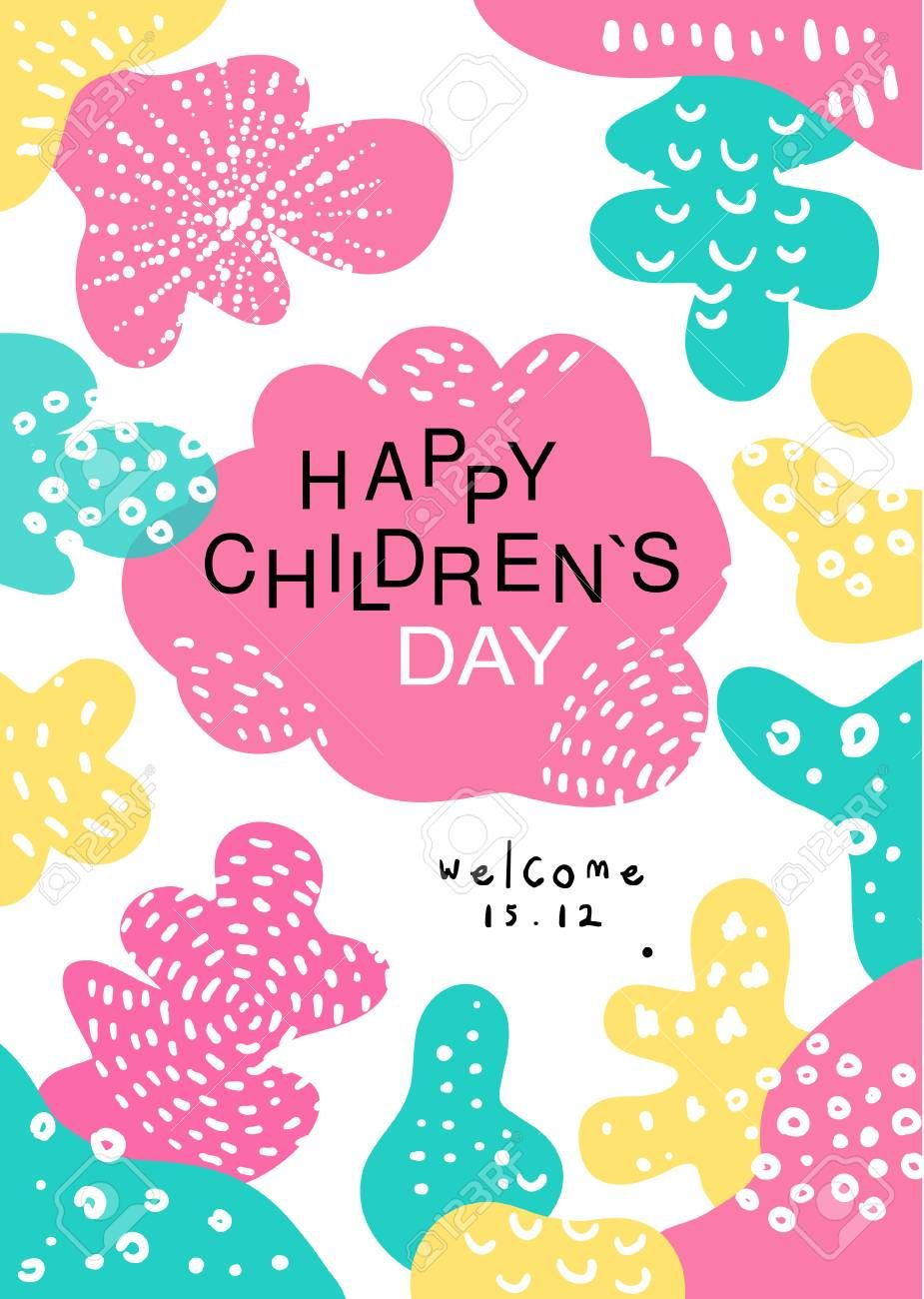 Happy Childrens Day Poster With Date Template Can Be Used For Placard Invitation Banner Card Flyer Vecto Happy Children S Day Logo Design Typography Flyer
