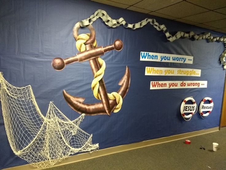 Shipwrecked- upstairs hallway decorated   Vbs crafts, Vbs ...