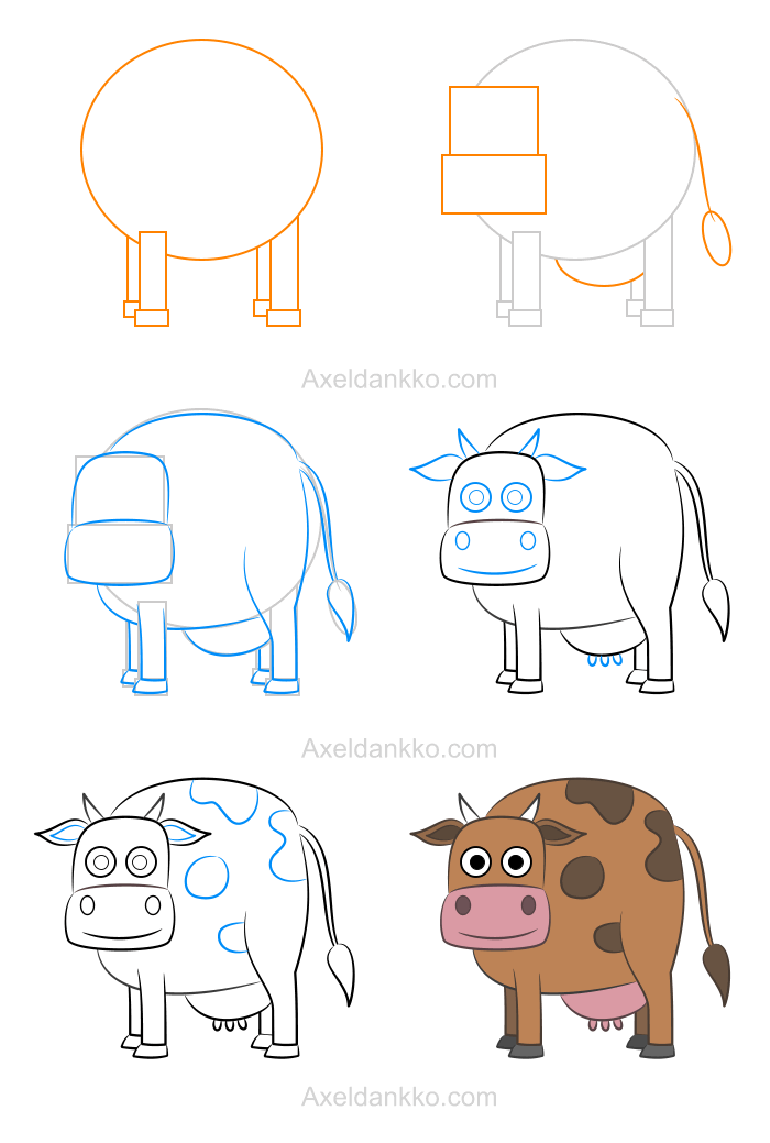How to draw a cow comment dessiner une vache how to - Dessiner une vache ...