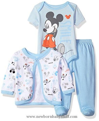 87506e83c Baby Boy Clothes Disney Baby Boys' Mickey Mouse 3-Piece Bodysuit, Footed  Pant, and Jacket Set, Light Blue, 3-6 Months