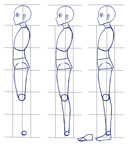 Anime side view body tutorial gif 524x600 pixels