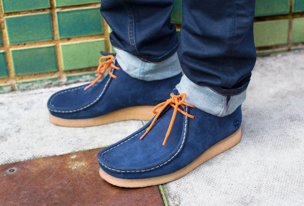 Clarks Originals Wallabee Mens Blue Suede Wallabee Shoes