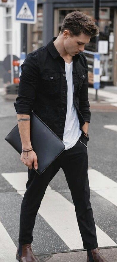 Fall Outfit Inspiration With A Black Trucker Jacket Denim Jacket White T Shirt Wr Men Fashion Casual Outfits Mens Fashion Casual Outfits Stylish Mens Outfits