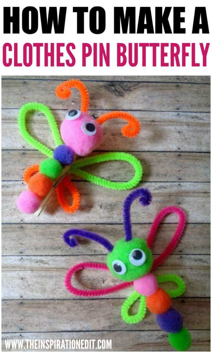 Photo of Clothes Pin Butterfly Magnet Craft For Kids · The Inspiration Edit