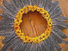 how to make a guinea feather wreath, crafts, seasonal holiday d cor, Guinea feather wreath made using on hand craft supplies and feathers from my farm