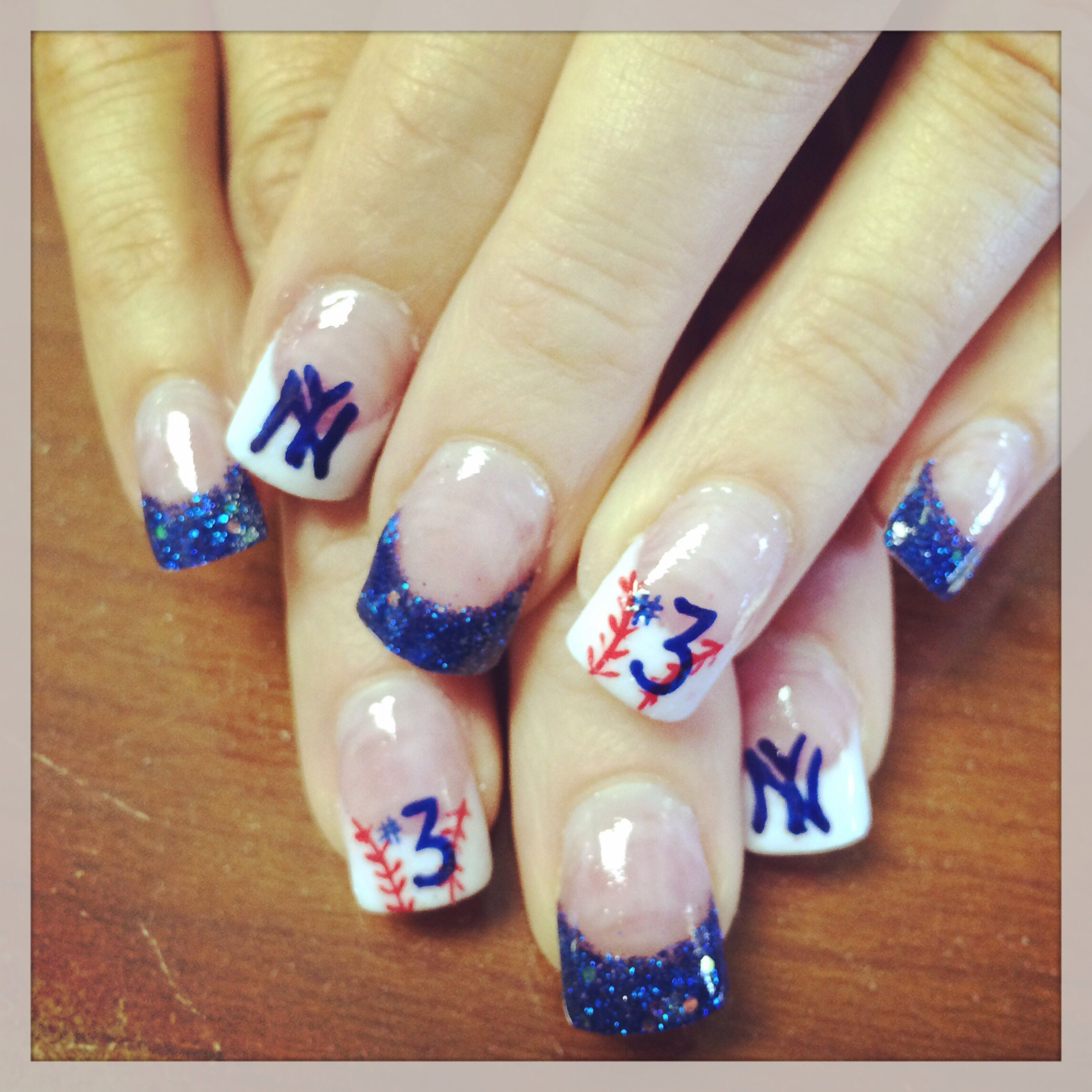 New York Yankees Nail Art - just had my nails done to support my ...