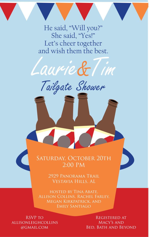 Tailgate Couples Shower Invitation And Theme Idea