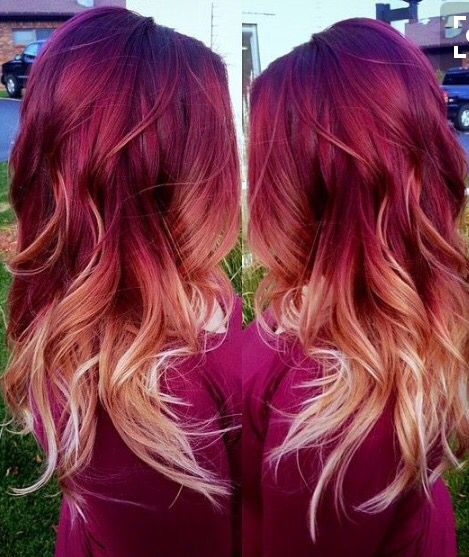 Purple Hue And Deep Red Then Fade To The Peachy Pink Blonde Ombre Hair Blonde Red Blonde Ombre Hair Red Ombre Hair