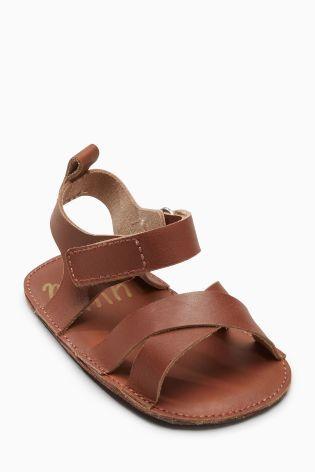 Svetlohnedá Tan Pram Leather Sandals (Mladší chlapci)
