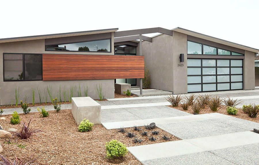 Mid Century Modern Garage Doors With Windows love the angled glass windows above the glass garage door. perfect