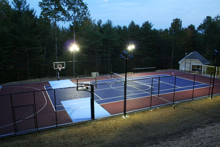 Outdoor basketball courts gym flooring backyard for Backyard sport court