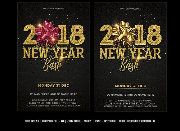 New Year Bash Flyer Template Party poster, Event flyers and Design