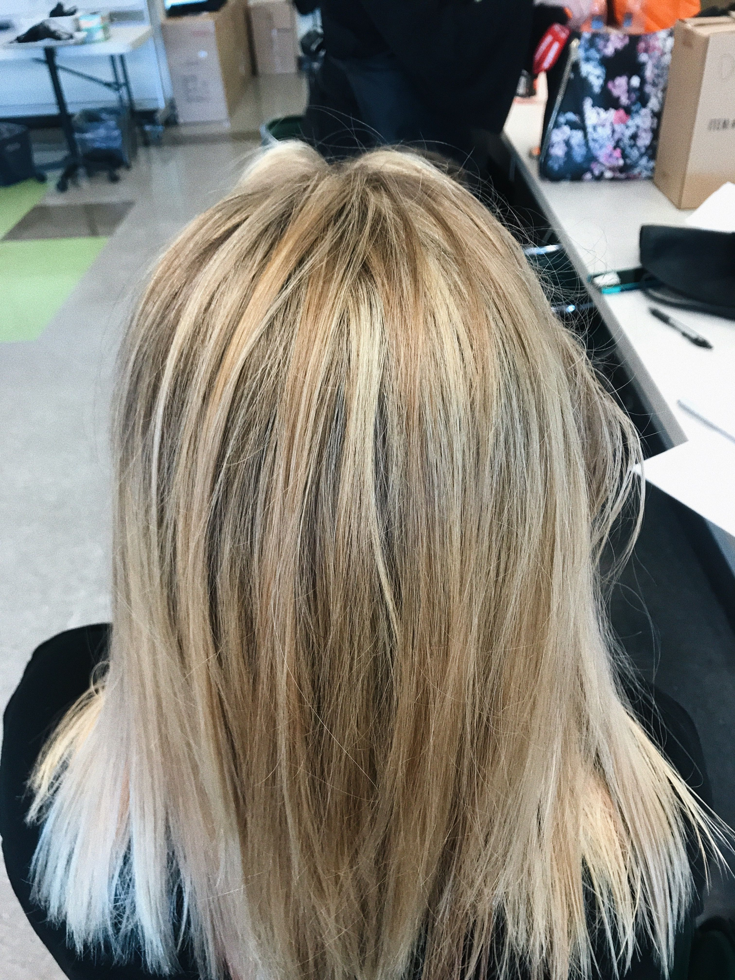 Results Of Herringbone Foils Pretty Level 9 Hair Color Long